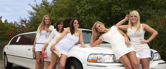 Derby Limo Hire in White, Black and Pink Color
